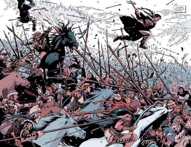 Old Guard: Force Multiplied #1 art by Leandro Fernández, Daniele Miwa, and letterer Jodi Wynne
