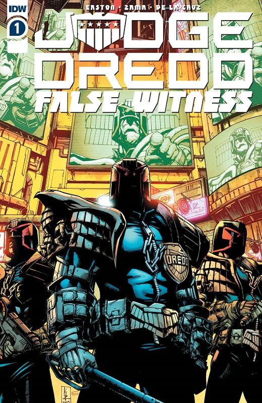 Judge Dredd: False Witness #1 cover by Kei Zama and Eva de la Cruz