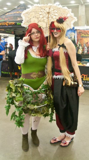 Steam Punk Poison Ivy and Harley with Umbrella