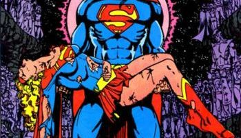 Superman cradling a dead Supergirl
