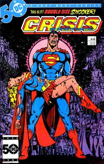 Superman cradling a dead Supergirl