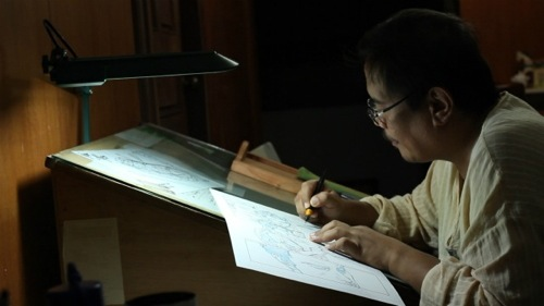 Gerry Alanguilan inking a future issue of Spider-Man.jpg