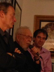 Al Jaffee holds forth with Drew Friedman in foreground and Sean Howe in background