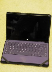 Microsoft Surface Pro tablet with keyboard and case