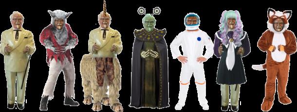 Meet the Colonels: Vampire, Werewolf, Unicorn, Alien, Spaceman, Japanese Pop Idol, Furry.