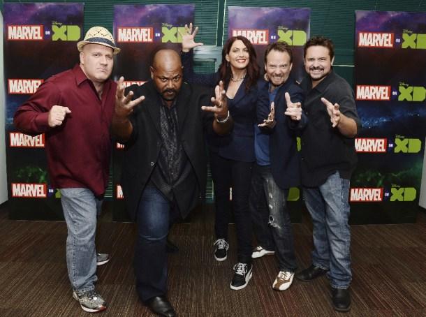 "MARVEL'S GUARDIANS OF THE GALAXY - The voice cast and creative team at the ""Marvel's Guardians of the Galaxy"" event in Burbank, California (September 1). ""Marvel's Guardians of the Galaxy"" premieres SATURDAY, SEPTEMBER 26 (9:30 p.m., ET/PT) on Disney XD. (Disney XD/Matt Petit) DAVID SOBOLOV, KEVIN MICHAEL RICHARDSON, VANESSA MARSHALL, TREVOR DEVALL, WILL FRIEDLE"