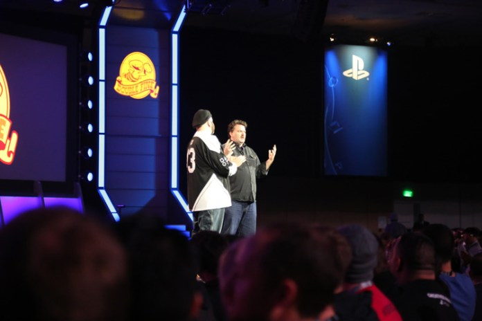 Gio Corsi and Tim Schafer during keynote