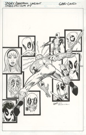 SAVED WHISKERS RESCUE - SPIDER-MAN 2099 #4 DEADPOOL VARIANT COVER Greg Land