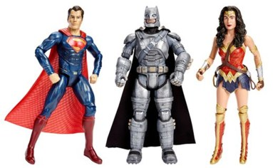 Superman, Batman, and Wonder Woman figures: Each come alive with sounds, lights, voice phrases, and five points of articulation. SRP $19.99 each.