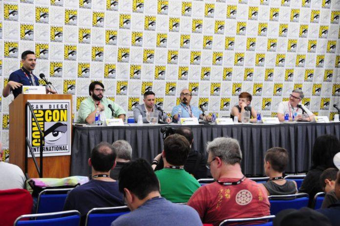 Left to right: Joshua Yehl, James Tynion, Steve Orlando, Kristen Ankara, Noelle Stevenson, and Brett White.