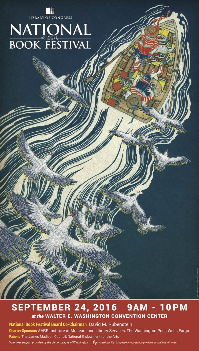 This distinctive poster was created for this year's National Book Festival by illustrator Yuko Shimizu.