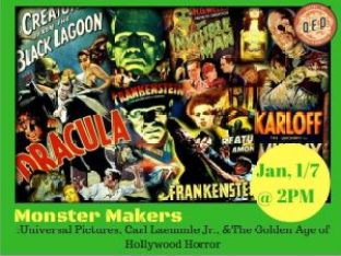"""Poster for the upcoming """"Monster Makers"""" lecture at QED Astoria"""