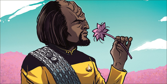 Two stories separated by era and style, but both deep explorations of the Star Trek mythos. Also, is this the most epic depiction of Worf ever?