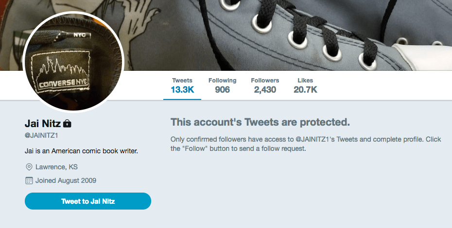 Jai Nitz sets his Twitter to private following accusations of sexual assault