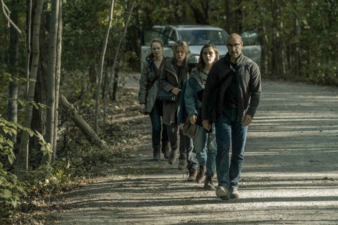 Photo of Stanley Tucci, Kiernan Shipka, Kyle Brietkopf, Kate Trotter and Miranda Otto in 'The Silence'