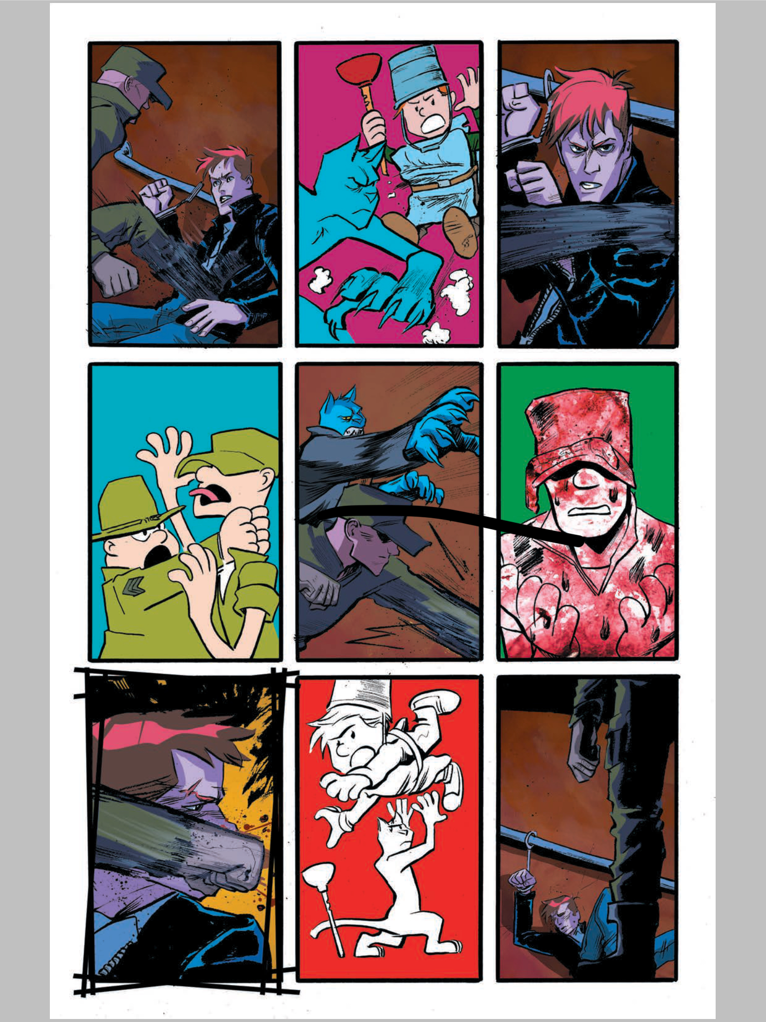 SPENCER & LOCKE 2 #1 nine-panel page shows all Pepose's and Santiago's influences.