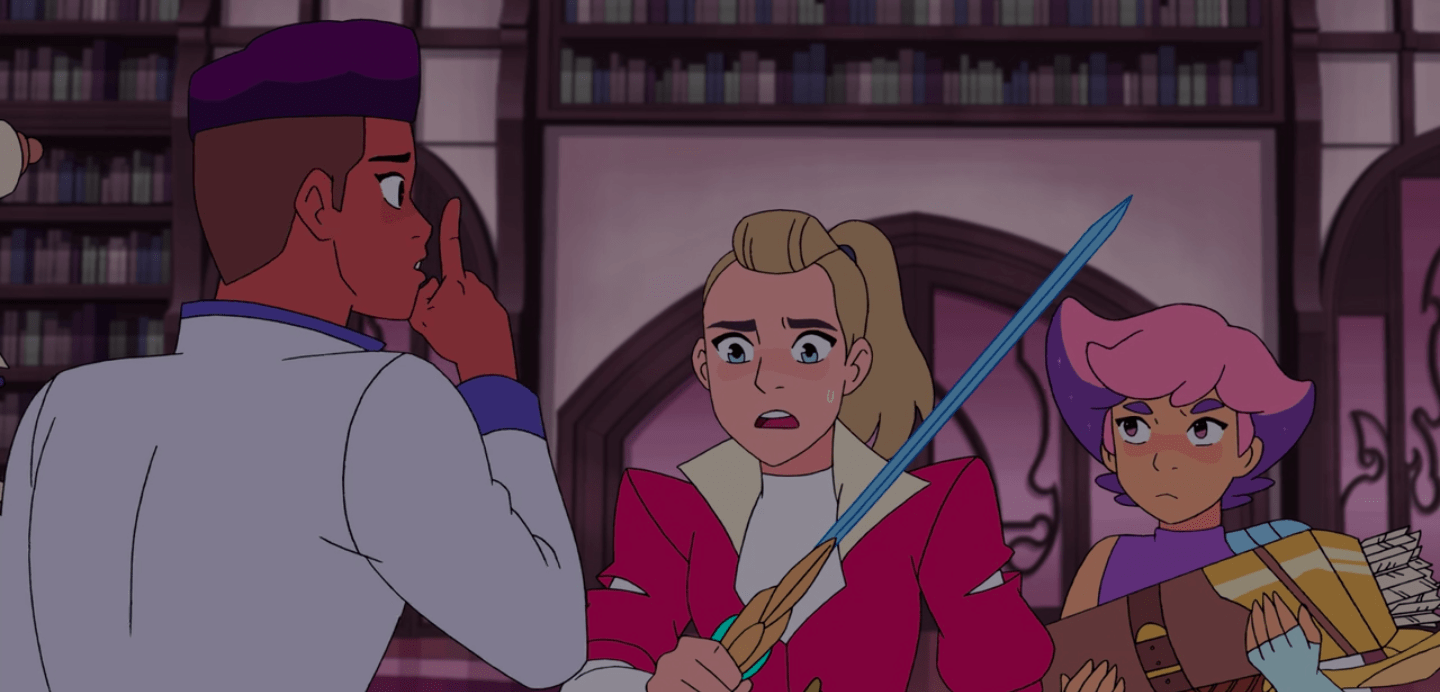 Bow, Adora and Glimmer in the library