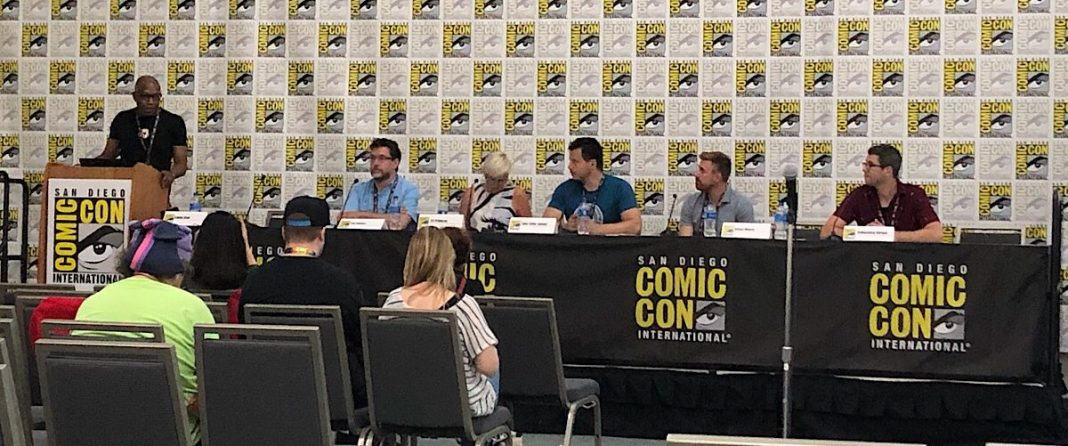 Publishers Weekly Panel featuring (L-R): Ted Adams, Liz Francis, Tyler Chin-Tanner, Andrew Arnold and Sebastian Girner