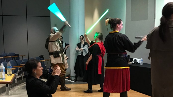 Lightsaber demo at Women In Comics Con 2019