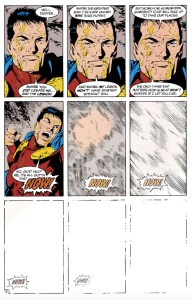 9 panel grid close up of Mon-El as he punches, with the last five panels fading until they are pure white