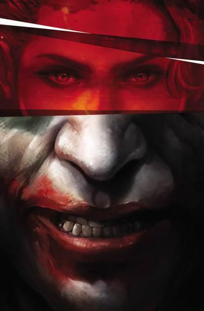 Harley's eyes imposed over Joker's smile on the cover of Joker/Harley Criminal Sanity