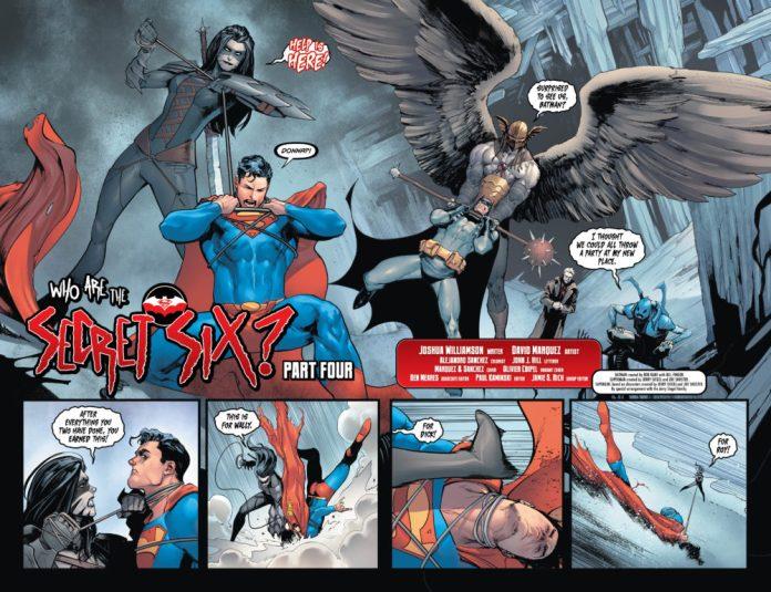 The Secret Six fighting Batman and Superman