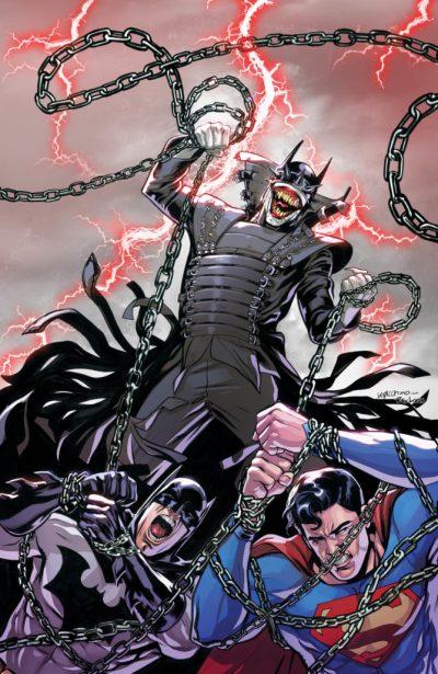 The Batman Who Laughs over a fallen Batman and Superman as he recruits his Secret Six