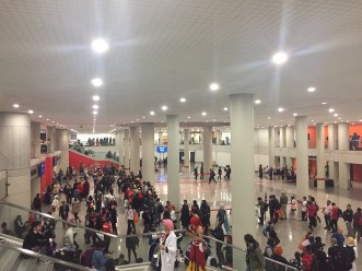 The messy line for the special events hall at AnimeNYC '19