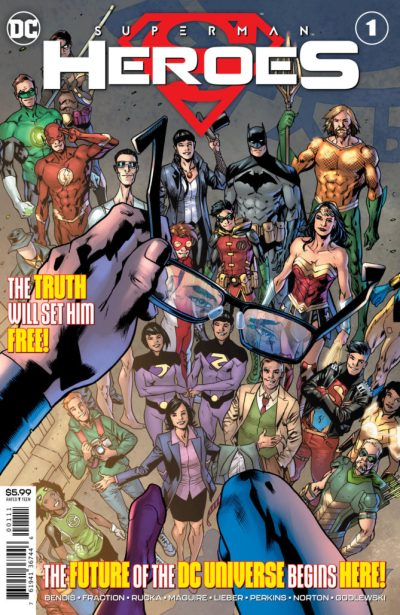 Superman: Heroes #1 cover with Superman holding his glasses above many superheroes