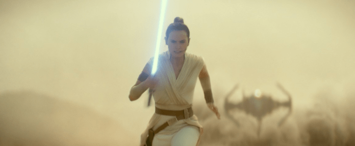 Rey (Daisy Ridley) prepares for a daring attack in The Rise of Skywalker