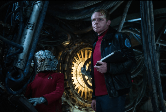 Simon Pegg and friend in Star Trek Beyond