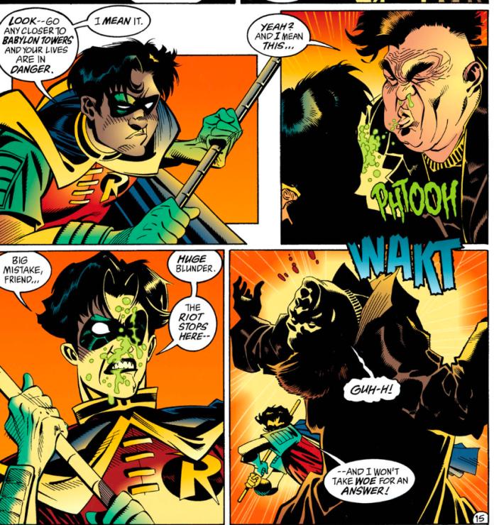 A diseased thug spitting on Robin - Batman #529 - Contagion part 6