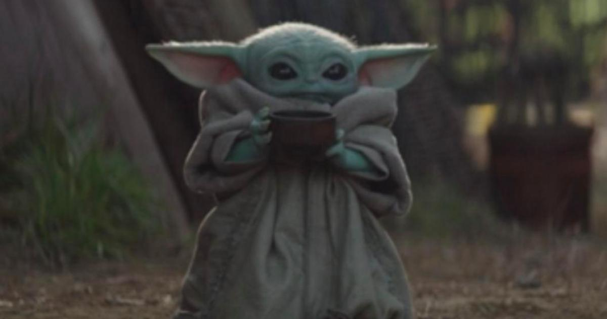 Baby Yoda sips his soups while watching the Emmys