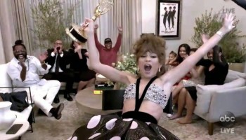 Zendaya reacts to her win at the 2020 Emmys