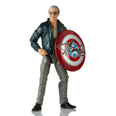 "6"" Stan Lee with signed Captain America shield"