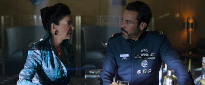 "Chrisjen Avasarala (Shohreh Aghdashloo) and Admiral Delgado (Michael Irby) know that Marco's plot is coming to a head in ""Mother"""