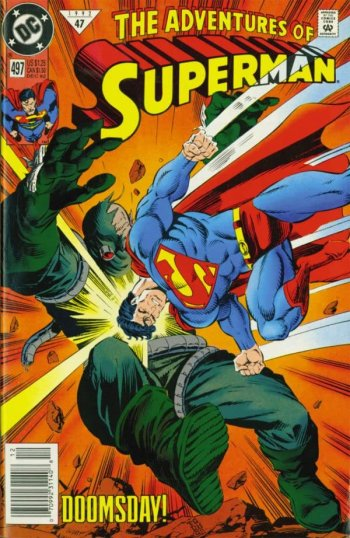 Adventures of Superman #497 cover featuring Superman ramming Doomsday by Tom Grummett