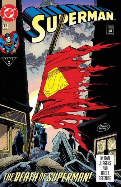 Superman's tattered cape waves as his friends mourn on the cover of Superman #75 by Dan Jurgens and Brett Breeding