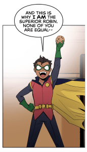 Damian triumphantly holding a cookie in Batman: Wayne Family Adventures Episode Two