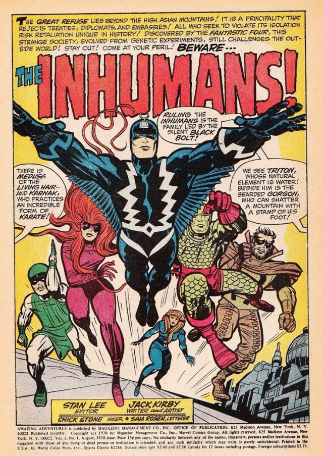 INHUMANS: Edited by Stan Lee, Written and Drawn by Jack Kirby, 1970