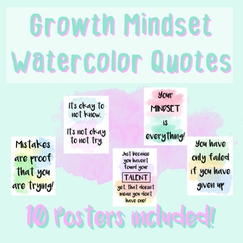 growth mindset posters watercolor quotes