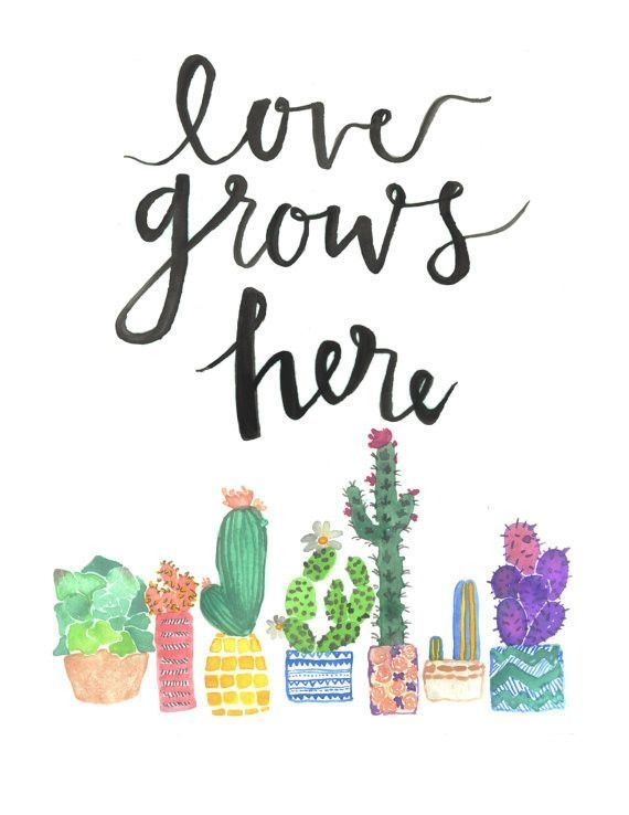 love grows here watercolor quote quote prints watercolor