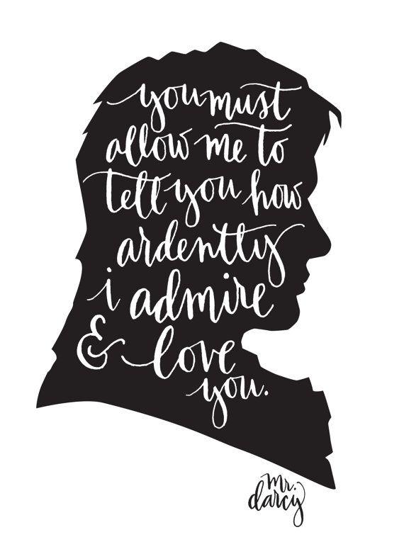 mr darcy jane austen quote calligraphy digital