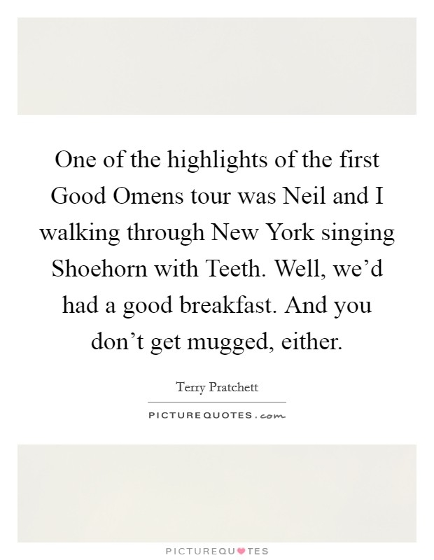 one of the highlights of the first good omens tour was neil