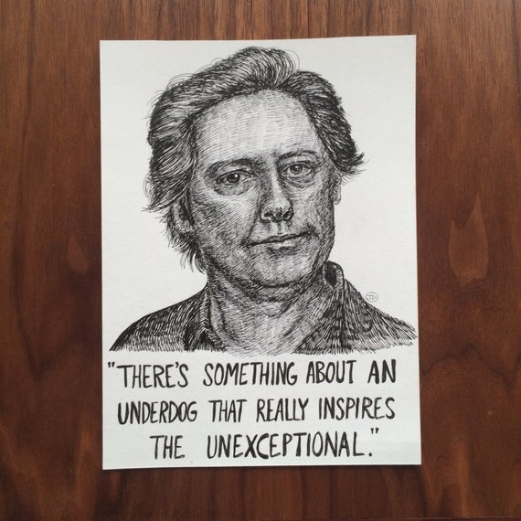 robert california james spader underdog quote ink drawing the office us