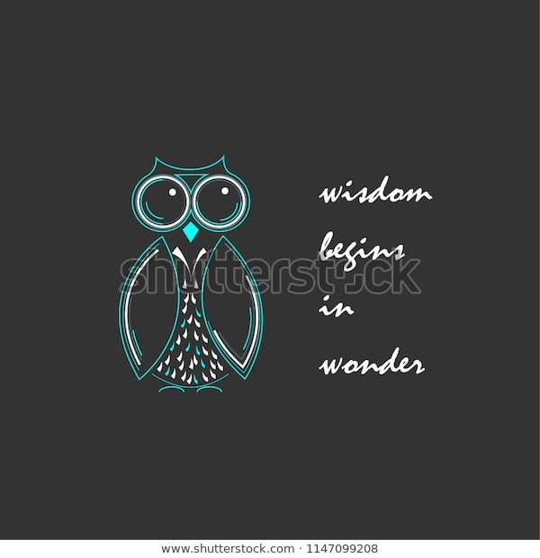 cute hand drawn owl quote greeting the arts stock image