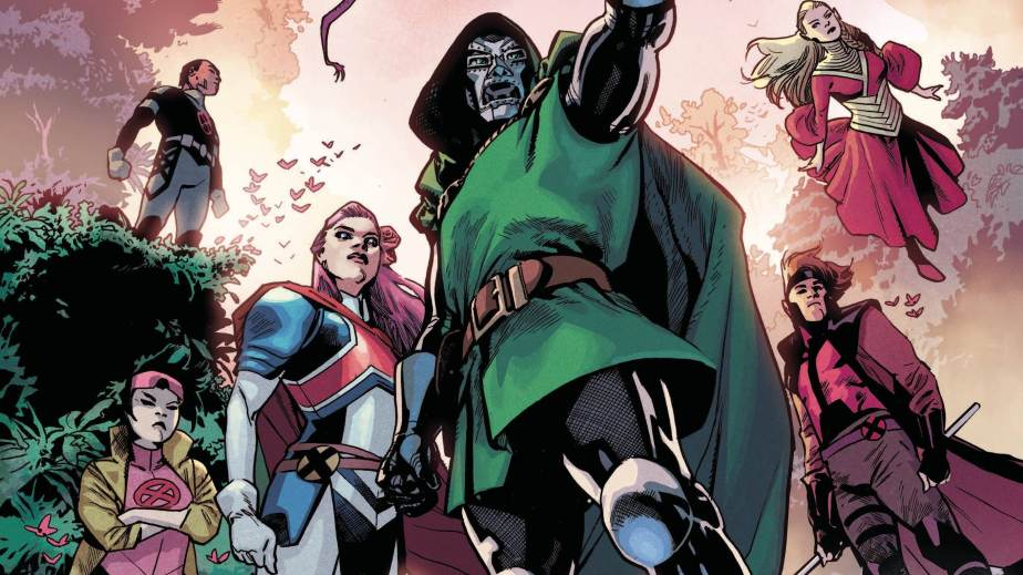 Doom leads Excalibur, forward, which includes Betsy Braddock, Jubilee, Richter, Meggan Braddock, and Gambit.