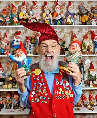 Retired window cleaner Ron Broomfield has turned his cottage into a shrine for gnomes - after collecting a staggering 1,600 of them. The 77-year-old became obsessed with the model dwarves 50 years ago when he bought a small group for his garden. Pictured: Gnome collection Ref: SPL297902 170711 Picture by: Solent News / Splash News Splash News and Pictures Los Angeles:310-821-2666 New York: 212-619-2666 London: 870-934-2666 photodesk@splashnews.com