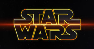 Star Wars logo - gold on black, fancier font, red line through