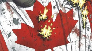 WE STAND on GUARD #1 tattered Canadian flag